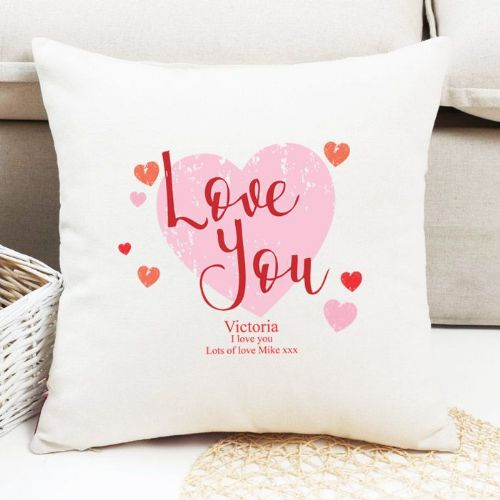 Personalised 'Love You' Heart Design Cushion